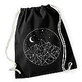 Turnbeutel Berge, Mond und Sterne Hipster Beutel Tasche Jutebeutel Gymsac Stringbag Drawstring Autiga® schwarz unisize