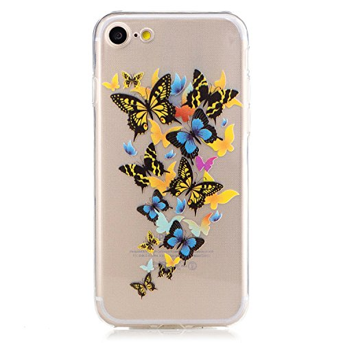 Coque iPhone 7 Housse étui-Case Transparent Liquid Crystal Mandala en TPU Silicone Clair,Protection Ultra Mince Premium,Coque Prime pour iPhone 7 (2016) Papillon