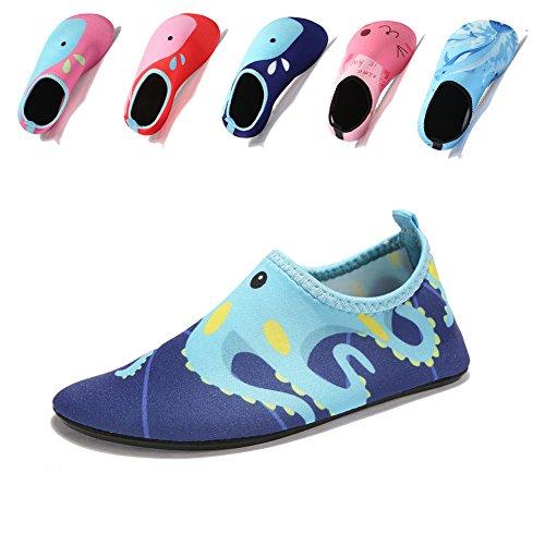 Laiwodun Kleinkind Schuhe Schwimmen Wasser Schuhe Mädchen Barefoot Aqua Schuhe für Beach Pool Surfen Yoga Unisex (5-18-19) (Schuhe Aqua Wasser)