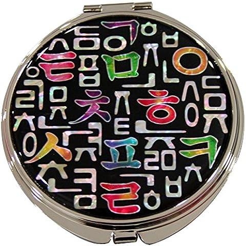 Korean madreperla alfabeto, compatto, doppia lente d'ingrandimento tascabile trucco Bellezza-Specchio da borsetta
