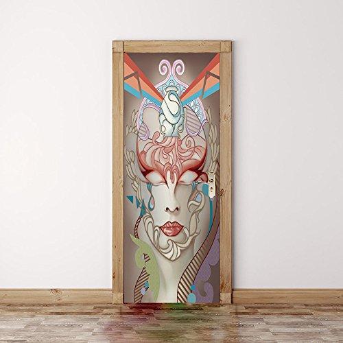 ber, Gemalt Menschliches Gesicht DIY Wandaufkleber PVC Wasserdicht Wandgemälde Glas Tür Wand Renovierung Selbstklebend Entfernbar Zuhause Dekoration, 77 * 200CM ()