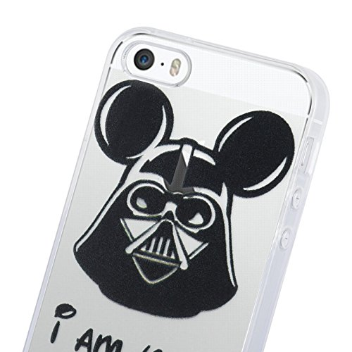 iPhone 5 Hülle, JAMMYLIZARD Transparentes Sketch Back Cover aus Silikon mit Muster für iPhone 5 / 5s & SE, TINKERBELL MICKEY VADER