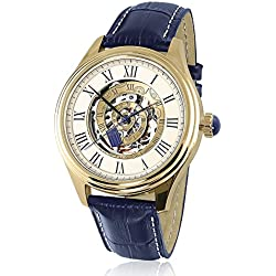 Officially Licensed Doctor Who Time Vortex Mechanical Watch Featuring A Gold Plated Time Spiral And A Genuine Leather Strap In Tardis Blue Exclusive To The Bradford Exchange