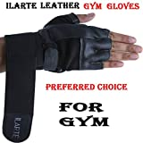 #9: ILARTE Leather Gym Gloves with Wrist Support (Black)