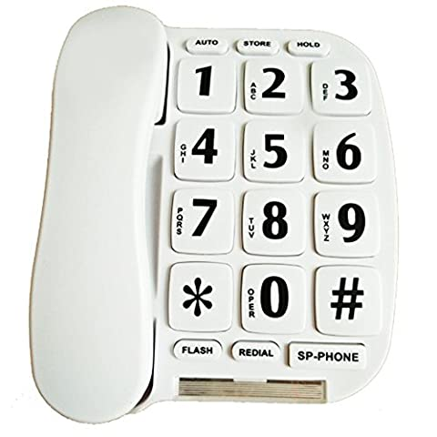 LeeKer LK-P011 Big Button Corded Phone for Elderly with Handsfree speakerphone/Hearing aid compatible (White)