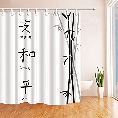 Classic Chinese Decor Shower Curtains By JAWO Hand Painted Bamboo
