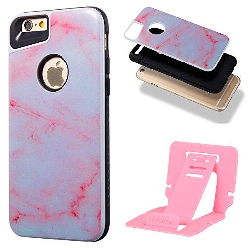 iphone 6S 4.7 Custodia, iphone 6 Silicone Cover, Ekakashop Moda Lusso Marmo Modello Disegno PC & TPU 2-in-1 Epoxy Mestieri Morbido Rigida Cassa del telefono per iphone 6S 3D Gel Silicone Gomma Cover, 2-in-1--Rosa
