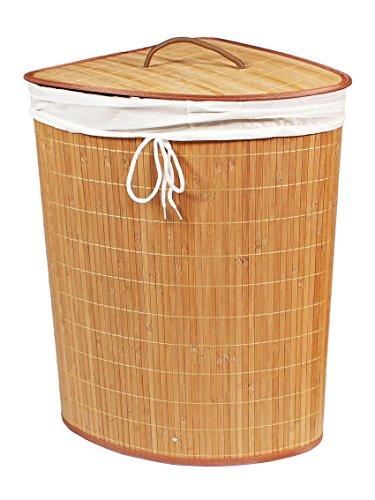 BigDean Wäschekorb 75l Bambus RUND NATUR 60x40 Wäschetruhe Wäschesammler Wäschebox Wäschesack