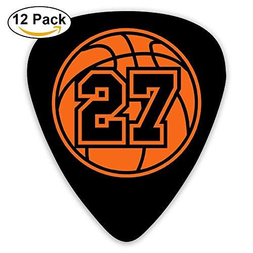 Celluloid Gitarrenplektren, tolles Geschenk für Gitarristen und E-Gitarre, Aufdruck 27 Basketball, 0,46 mm/0,73 mm/0,96 mm, 12 Stück