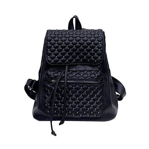 ADEMI Femmes Mode épaule Diamant Sac Pu Ordinateur Portable En Cuir Sac à Dos Voyage Sac à Dos Multicolore,Black-OneSize