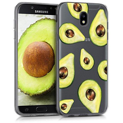 kwmobile Funda para Samsung Galaxy J7 (2017) DUOS - Carcasa de [TPU] para móvil y diseño de aguacates en [Verde/Transparente]
