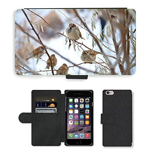 Just Mobile pour Hot Style Téléphone portable étui portefeuille en cuir PU avec fente pour carte//m00140352Sparrow Bird Animal Nature Les Moineaux//Apple iPhone 6Plus 14cm