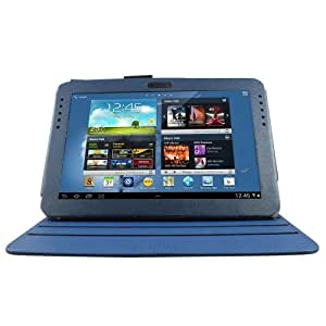 Aquarius 360 Degree Rotating Folio Case/Cover/Stand with Matching Stylus Pen and Screen Guard for Samsung Galaxy Note N8000 - Dark Blue