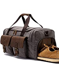 BLUBOON Canvas Holdall Weekend Weekender Travel Duffle Bag with Shoe  Compartment Leather Overnight Carry on d0d458b57755f