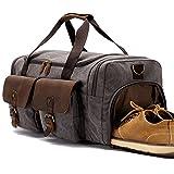 BLUBOON Weekender Canvas Reisetasche mit Schuhfach Vintage Herren Damen Handgepäck (Grau)