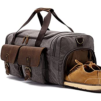 BLUBOON Canvas Holdall Weekend Weekender Travel Duffle Bag With Shoe Compartment Leather Overnight Carry On Lugguge For Men And Women Grey