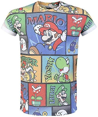 NINTENDO Super Mario Bros Mario and Friends All-Over Comic Strip Print Men's T-Shirt (Large) - Parent