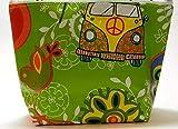 Kosmetiktasche - BUS FÜR HIPPIES - aus Wachstuch - für Schminke / Make-Up / Stifte / Kabel - Geschenk Weihnachten Geburtstag Muttertag Konfirmation & Firmung - Kabeltasche / Kabel-Tasche / Kosmetik-Tasche / Schminktäschchen / Schminktasche / Schmink-Täschchen