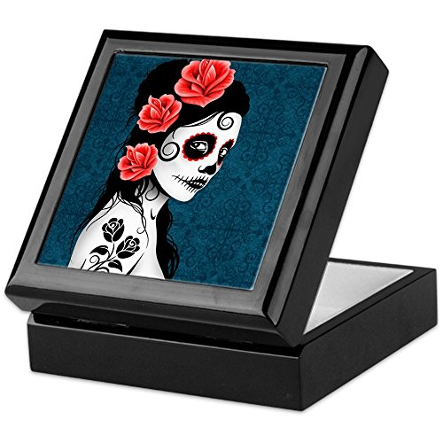 CafePress-Tag der Toten Mädchen blau-Keepsake Box, fertig Hartholz Jewelry Box, Samt Gefüttert Memento Box schwarz (Tag Der Tattoo Toten Mädchen)