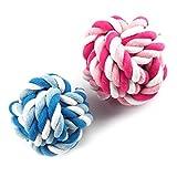 1Stück Baumwolle Pet Hund Knoten Seil Ball Spielzeug Bite Katze Zähne Zug reinigen Kauen Spielzeug Bälle zufällige Colo