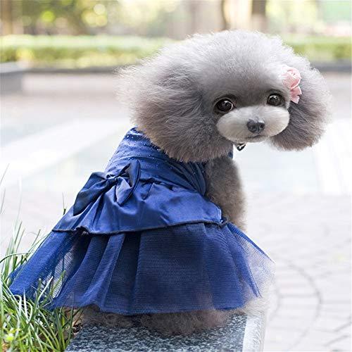 Dress Kostüm Blues Marine - ZFFLYH Sommer-Haustier-Kleid, Ineinander greifen-heiße bohrende Hundekleid-Haustier Pettiskirt-Hundeprinzessin Dress,Marine,XL