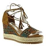 Angkorly Damen Schuhe Sandalen Mule - Plateauschuhe - Offen - Bestickt - Fransen - Seil Keilabsatz High Heel 9 cm - Camel L161 T 37
