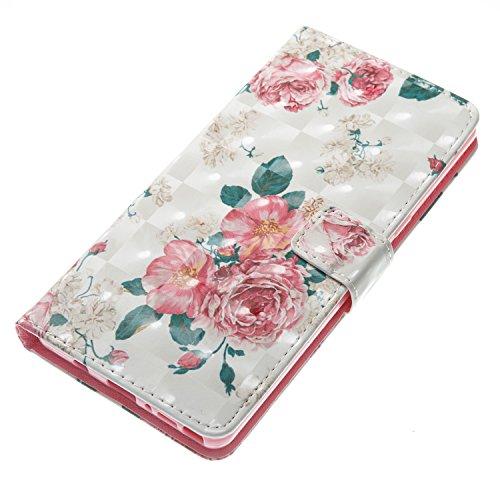 Galaxy Note 8 Hülle , Camiter Rosa Schönheit Mädchen Design Leder pu Magnetverschluss Wallet Case Schutzhülle Standfunktion Handytasche Hülle mit 9 Karteneinschub /Trageschlaufe und Spiegel für Samsun Pfingstrose