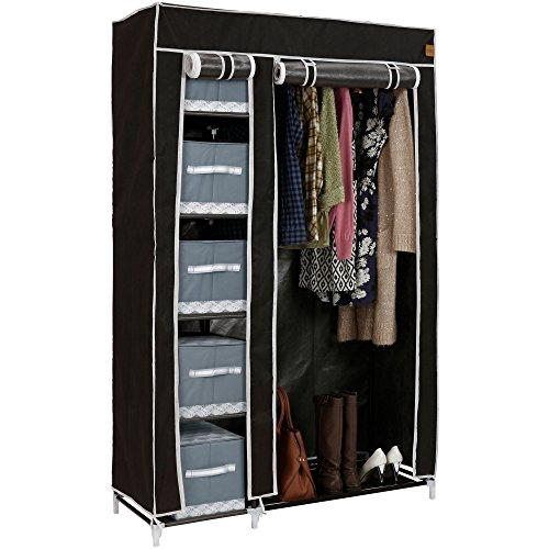vonhaus-double-canvas-effect-wardrobe-clothes-cupboard-hanging-rail-storage-6-shelves-black-w110-x-d
