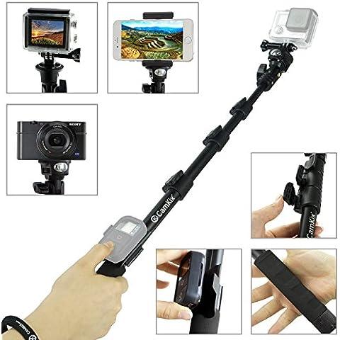 CamKix - Palo telescópico para cámera GoPro Hero, cámeras compactas y móviles. Incluye cuna para mando remoto, soporte para móvil, espejo para selfies, tornillo de ajuste y cordón ajustable hasta 120 cm