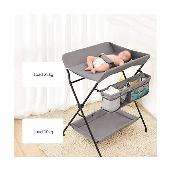 Baby Changing Table Baby Storage Bath Tub Unit Station Dresser Foldable Cross Leg Style AA-SS-Baby Changing Table 【Two in One Design】This baby changing table can be used as baby massaging table as 【Stable Construction】Non-skid feet covers and a sturdy frame keep the table stable and prevent movement. 【Waterproof Material】The surface of the top table is made of durable and wearable Oxford cloth and it can be used for a long period. 8