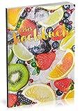 Dékokind Leeres Kochbuch: Für über 80 Lieblingsrezepte || Ca. A5 Softcover || Rezeptbuch zum Selbstgestalten / Selberschreiben mit Inhaltsverzeichnis || Motiv: Gefrorenes Obst