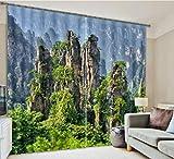 H&M Gardinen Vorhang Pinnacle Stein EIN Warmer Schatten Tuch UV-Druck 3D dekoriert Schlafzimmerfenster Vorhänge fertig, Wide 2.64x high 2.13