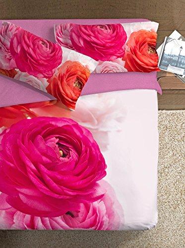 Ipersan Set Copripiumino Piazzato Fine Art Disegno Bouquet Fucsia/Ciliegia matrimoniale 255 x 200 cm