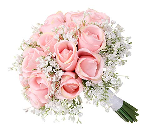 Hochzeitsstrauß künstliche mehrere seidige Blumen Rosen Brautsträuße für Braut Brautjungfer halten Gypsophila Hochzeit Dekoration