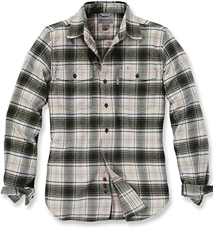 Carhartt Shirt Longsleeve Fit Flannel Trumbull DUFFLE BAG GREEN