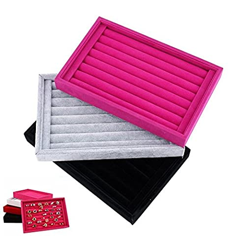 Yosoo Velour Interior Suede Jewelry Earrings Rings Cufflink Display Organizer Box Tray Holder Case Slits Storage Gift