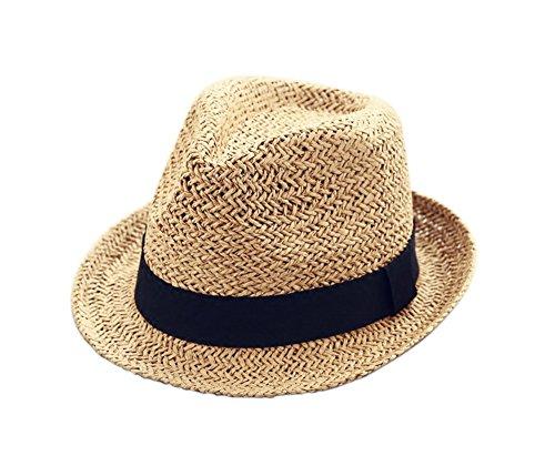 Kinder-Cowboy-Hut kappen Britische Retro Hut-Stroh-Sommer-Kleinkind-Hüte Brown