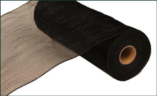 25cm x 9.1m Deco Poly Mesh Ribbon - Black Non Metallic : RE130202 Metallic-poly-mesh