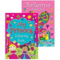 Squiggle Girls My Princess & Ballerina A4 Colouring Books - Set of 2, Great Gift Set