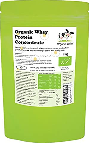 Organic Whey Protein Powder 1kg or 3kg - 80% Protein, Pure Grass Fed Whey, Additive Free, Gluten Free, Soy Free, Non GMO - Organic