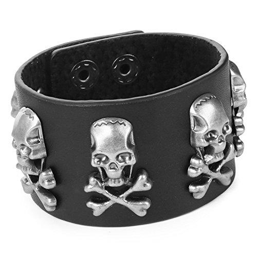 mendino Herren Befestigen die Knöpfe Fünf Skull Ghost Leder Armband (schwarz) mit 1x Samtbeutel Passform 17,8-22,9cm Ghost Leder