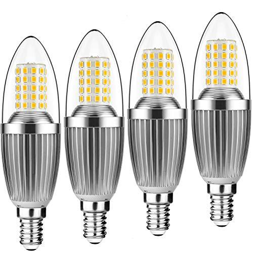 Yiun E14 LED Kerzenlampen, 12W LED Kerzenleuchter Glühlampen 100 Watt Äquivalent, 1200lm, Warmweiß 3000K LED Kronleuchter Lampen, dekorative Kerzenständer E14, nicht dimmbare LED Lampe, 4er Pack -