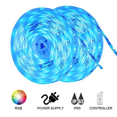 LED Strip 10m LED Band - LED Streifen 10m(2x5m) Wasserdicht 5050SMD 300(2x150) LEDs RGB Strip Full Kit - LED Stripes mit Controller und Netzteil