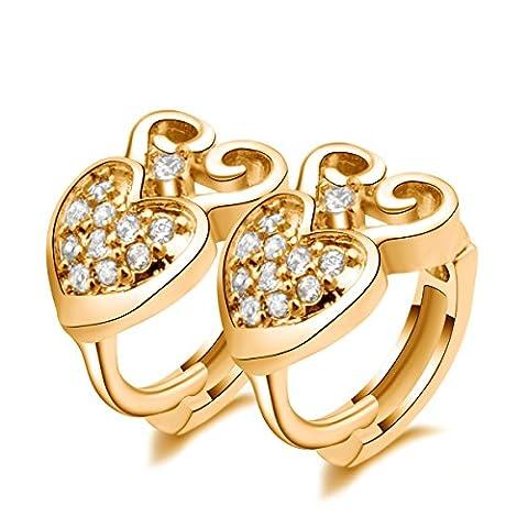 X & Y ANGEL cristal femmes véritable or Dangle–Boucles d'Oreilles Pendantes Femme–Clip Créoles forme er0469