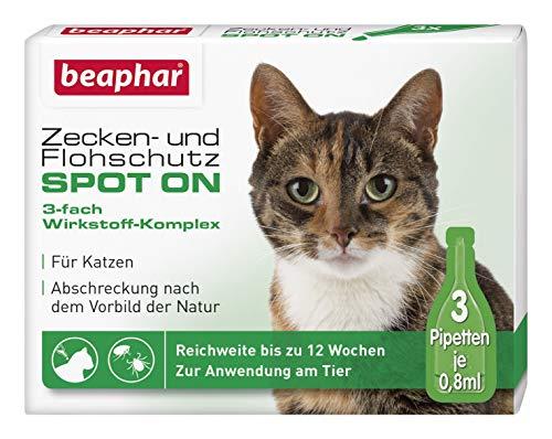 beaphar Zecken- und Flohschutz SPOT ON für Katzen, natürlicher Zecken- und Flohschutz mit Margosa Extrakt, 3 x 0,8 ml