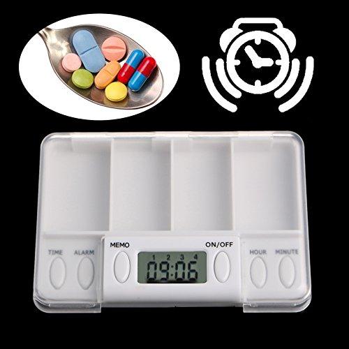 Preisvergleich Produktbild 'TYRO tragbar Pillen Reminder Medizin Alarm Timer Elektronische Box Case Organizer 4 Grid Splitter 1