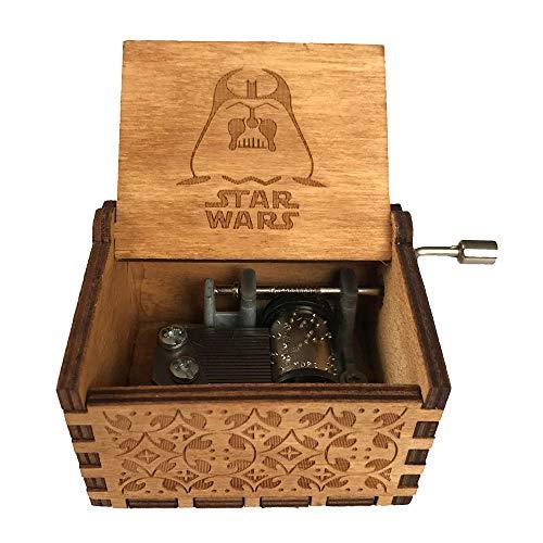 Mini Handkurbel aus Holz Spieluhr, Handwerk Melodie handbetätigte Spieluhr Home Decor Weihnachtsgeschenk für Kinder size Star Wars