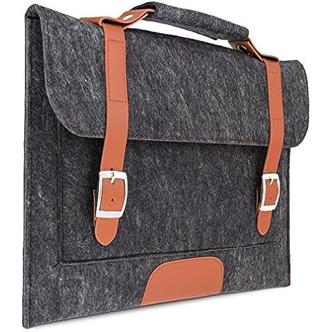 eFabrik–Funda de fieltro para Sony VAIO Pro 13,3pulgadas (33,7cm) Protección Cover Laptop Sleeve Case Soft Carcasa Asidero Fieltro Gris Oscuro con marrón