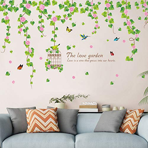 Qscwdv Flower Wisteria Wall Stickers Pvc Diy Plant Mural Decals For Living Room Bedroom Wedding Decoration 137 * 82Cm