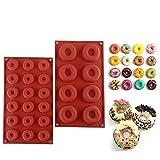 yiqi Paquete de 2 moldes de Silicona para rosquillas, Bandeja Antiadherente para Hornear Recipiente Resistente al Calor para panecillos de bizcochos de pastelería (8 cavidades y 18 cavidades)